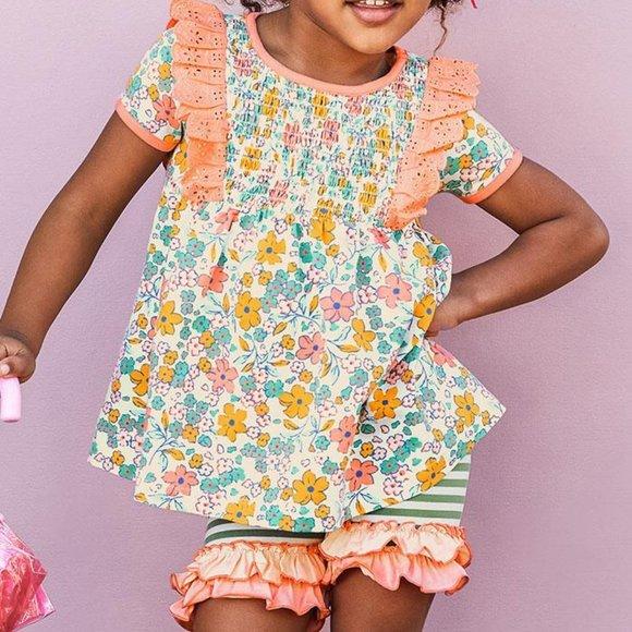 Matilda Jane Smocked Floral Top w/ Knit Shorties